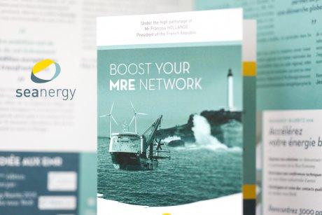Identité visuelle et déclinaison sur les outils de communication du salon dédié aux energies marines renouvelables.